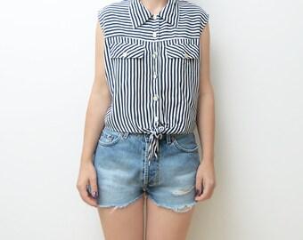 Vintage striped knot sleeveless button up navy blue blouse