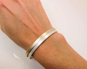 14K Gold & Sterling Silver Cuffs - 14K Gold and Silver Stacking Cuffs - 4X2 Gold and Silver Cuff Set - Gold and Silver Cuff Combo