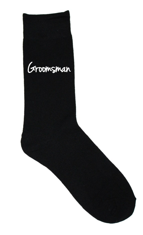 Groomsman Socks - Black Wedding Socks - Size 10-13