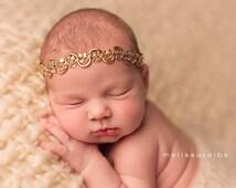 Dainty Gold Crown Headband..Infant-Adult Headband..Baby Girl Halo..Beaded Crown Headband..Girls Adult Headband..Baby Girl Headband..Toddler.