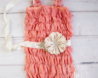 Coral Lace Romper..Baby Girl 1st Birthday Outfit...Flower Girl Sash..Bridesmaid Sash...Newborn Homecoming Outfit..Baby's Birthday Outfit..