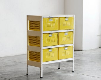 2 x 3 Reclaimed Locker Basket Unit in Mellow Yellow and White