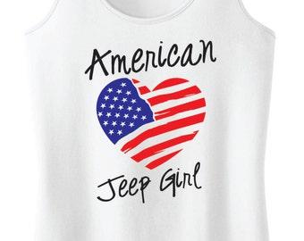 American Jeep Girl Flag Heart Racerback Tank Top