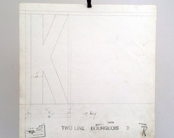 Letter cap K, industrial drawing, original font casting drawing, typographic drawing: Two Line Bourgeois. 1911