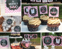 Girl Baby Q Decorations Package baby shower pink chalkboard printable