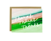 Thanks Card - Thanks Card Set - Thank You Cards Set - Thanks On Thanks Watercolor Card