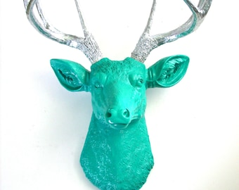 TEAL w/ SILVER Antlers Faux Taxidermy Deer Head wall mount wall hanging :  nursery decor office woodland modern chic fake deer head