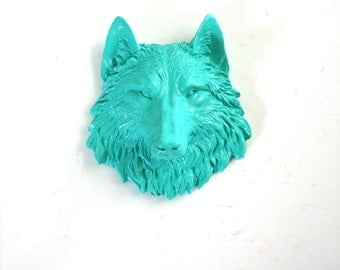 AQUA Small Faux Taxidermy Wolf Head wall hanging wall mount home decor in aqua:  small animal head office decor kids room nursery woodland