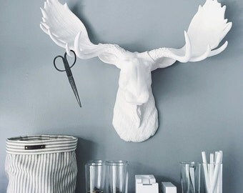 Faux Taxidermy Large WHITE Moose Head wall mount wall hanging fake animal head / nursery decor / woodland decor / farm house decor gift