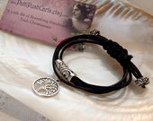 Black Wrap Bracelet Silk Silver Charm Tree of Life
