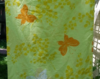 Vintage Springmaid Mariposa Full Flat Sheet and Two Pillowcases -- Orange and Yellow Butterflies, Wondercale 65 Poly, 35 Cotton