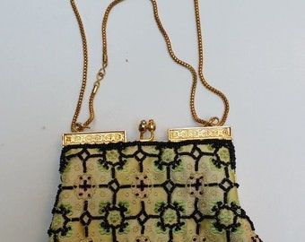Vintage Cream and Green Evening Bag with Black Beads