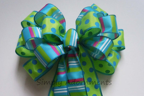 Luau Birthday Luau Party Decor Green Blue Polka dots Birthday Decoration Blue Green Pew Bow Birthday Shower Gifts Bow