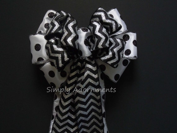 Black White Wedding Pew Bow, Halloween Wreath Bow, Wedding church Aisle Pew Bow, Wedding Chair Bow