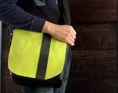 Man Bag 22 Black Neon Green Stripe Messenger Bag for Men Satchel