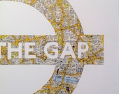 MIND THE GAP - Paper Cut made from a Vintage Map of London // Handmade in England // Large A3