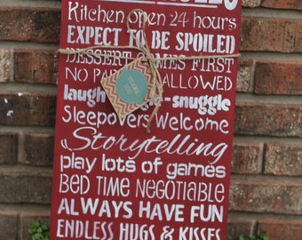 Grandparents house rules sign-custom Grandparents sign  Order 2 signs get 10% off your order with coupon code CHRISTMAS2015