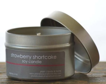 SALE - Strawberry Shortcake Soy Candle Tin 4 oz. - strawberry soy candle - cake soy candle - summer candle - food candle - bakery soy candle
