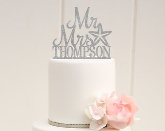 Starfish Beach Glitter Wedding Cake Topper Mr and Mrs Topper Design With YOUR Last Name - 0175