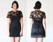 Vintage 90's Black Lace short sleeve scallop shift floral mini dress
