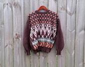 L Large Vintage Men's Brown Zig Zag Fall Winter Hipster Indie Prep Preppy Sweater