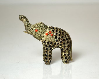 Antique Chinese Jeweled Coral Encrusted Gemstones and Silver Elephant Rare Asian Figurine