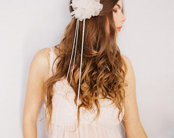 Double Band Silk Flower Headpiece with Chains, Crystal Bridal Headband with Crystal Chains #300HP