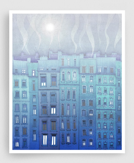 Foggy day in Paris  - Fine art illustration Giclee print Art Poster Paris art Paris Home decor Wall decor Large wall art City prints Blue