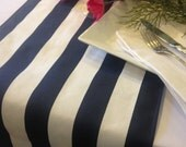 Premium Striped Table Runner -  Cabana Canopy stripe - Navy, Grey, Black and other colors - Nautical Beach Wedding or Party runners