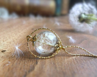 Dandelion necklace, wishes in a bottle glass ball necklace, 18K gold filled, girlfriend gift, for her, nature jewelry, bridesmaid necklace