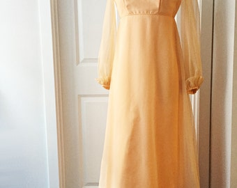 Vintage 60s party dress/ peach chiffon gown/ empire waist long pastel dress with ruffles/ cocktail dress ABC Angelair by Monika