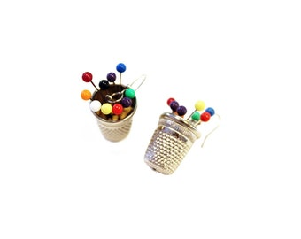 Earrings with pendant thimble and colors block pins, mod. Lego