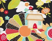 Knock Knock Black Floral by Henry Glass - Patchwork Houses - 1/2 Yard+