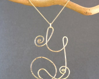 Hammered Scrolly Pendant Letter