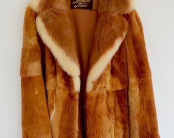 Vintage Fur Coat, 70s Sheared Guanaco Fur Coat with Full Fur Collar