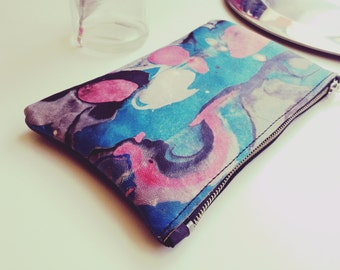 VULCANO - pouch - hand painted leather