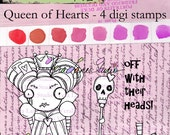 Quirky Queen of Hearts digi stamp set available for instant download