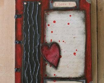 Dark Romance Goth Broken Heart Original Art Collage Book Painting
