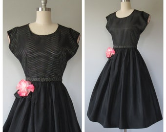 50s party dress size small / vintage party dress
