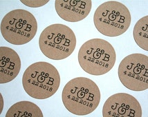 "Personalized wedding stickers, custom favor labels.  1"" round stickers, set of 63.  Matte white or Kraft brown. Custom initials and date."