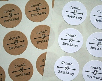 "Personalized wedding stickers, custom favor labels.  1"" round stickers, set of 63.  Matte white or Kraft brown. Custom names with arrow."