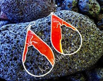 Volcano 'Pele' Earrings, Resin Earrings, Stained Glass Earrings