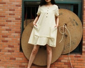 cotton dress linen dress cotton maxi dress Irregular dress short sleeves dress large pockets