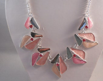 Silver Tone and Shades of Pink Pendants Necklace with Pink Rhinestones on a Silver Tone Chain