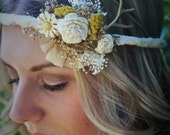 "Dried Floral Crown ""The Huntress"" Bohemian Antler Crown Custom Made // Sola Flower Sunflower + Dried Floral Crown // Boho Style Bridal Crown"