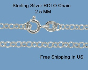 Sterling Silver 2.5 MM ROLO Chain (w/ Clasp)Free Gift Box #10336