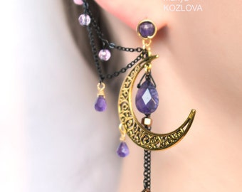 Shining Gold Lilac Night Ear Cuff with Fairy Amethyst Stars-natural purple amethyst/ gold moon/ fairy moon/ scroll moon/ curl open work moon