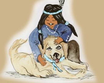 Native American Boy and Doggie