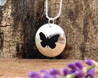 Sterling Silver Essential Oil Necklace with Handcut Butterfly Silhouette. Aromatherapy Insect Pendant. Personal Diffuser. Ready to Ship.