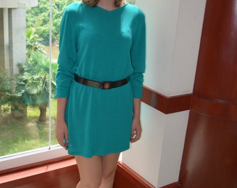 Turquoise Sweater, Size Small, Preston and York Sweater Dress, Vintage Sweater, Teal Sweater, Women's Long Sleeved Dress
